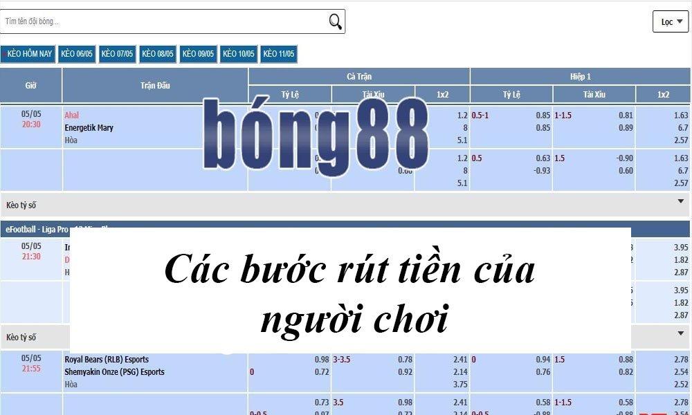 Các bước rút tiền Bong88